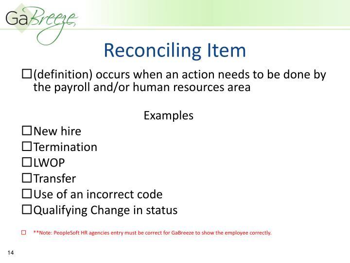 Reconciling Item