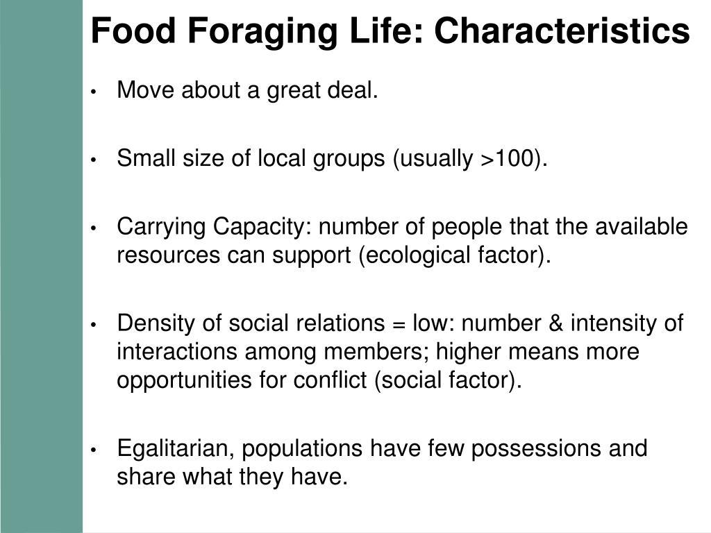 Food Foraging Life: Characteristics