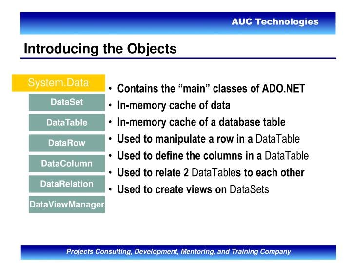 "Contains the ""main"" classes of ADO.NET"