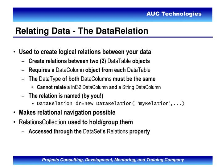 Used to create logical relations between your data