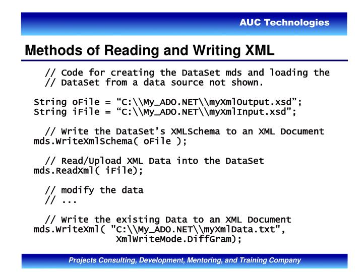 Methods of Reading and Writing XML