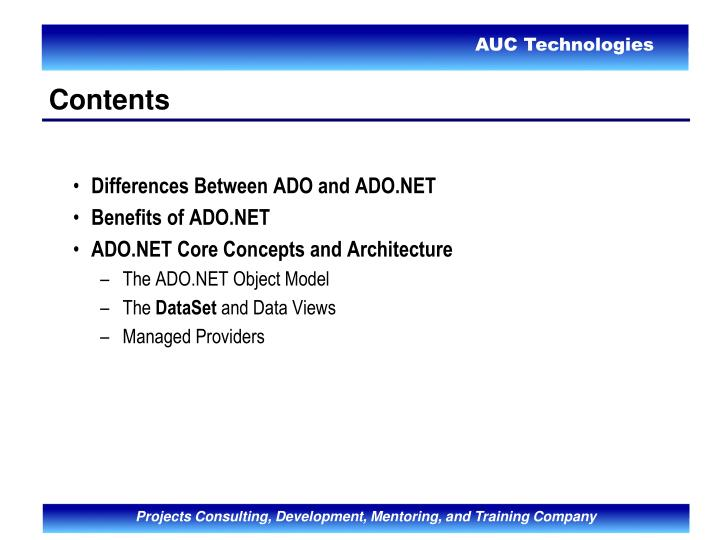Differences Between ADO and ADO.NET