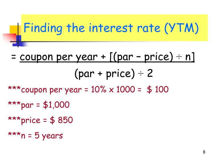 Finding the interest rate (YTM)