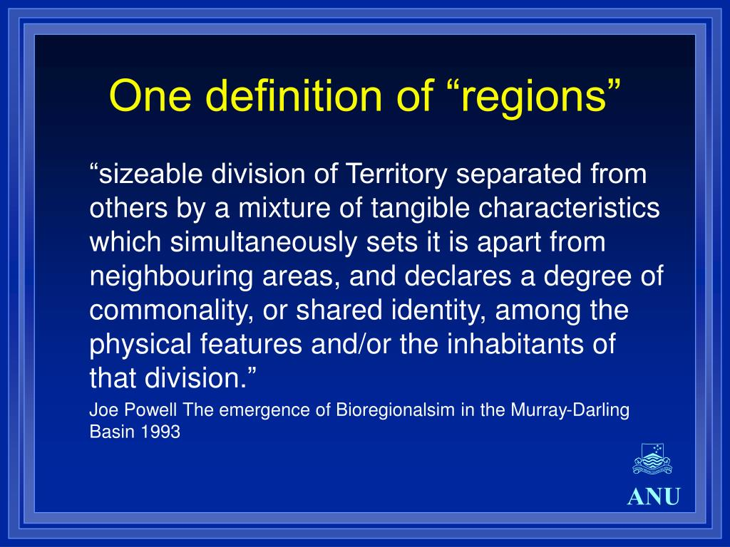 "One definition of ""regions"""
