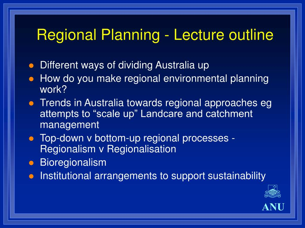 Regional Planning - Lecture outline