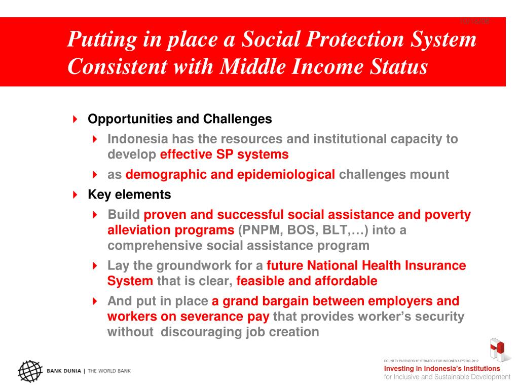 Putting in place a Social Protection System Consistent with Middle Income Status