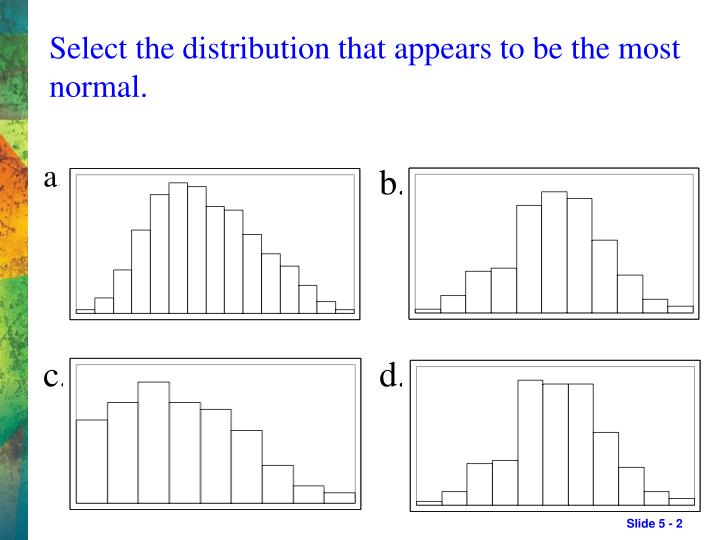 Select the distribution that appears to be the most normal.