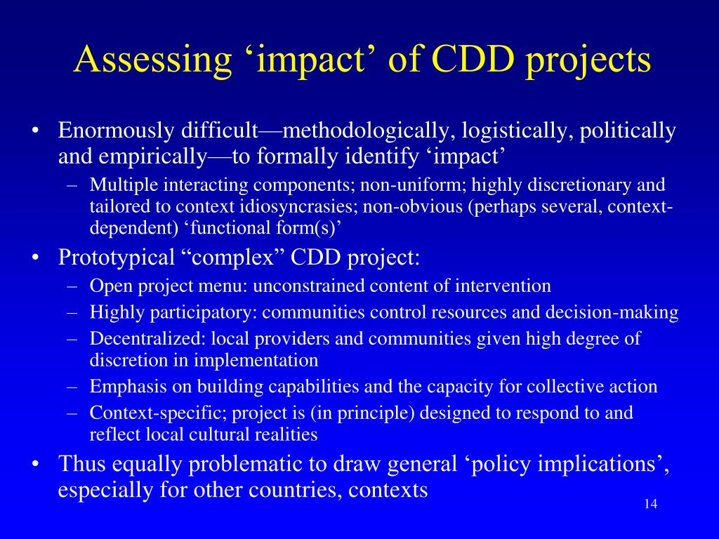 Assessing 'impact' of CDD projects