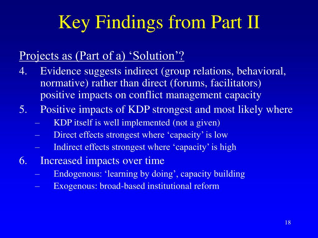 Key Findings from Part II