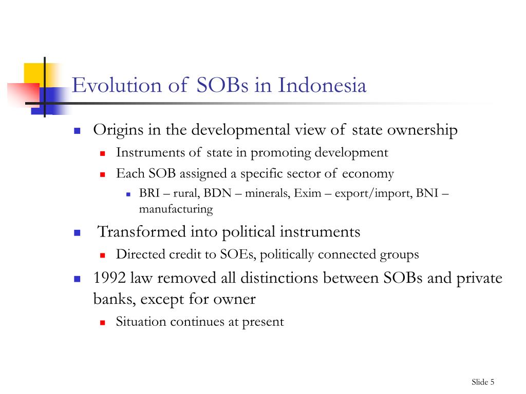 Evolution of SOBs in Indonesia