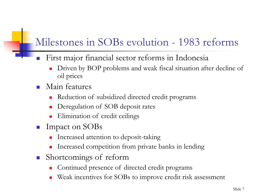 Milestones in SOBs evolution - 1983 reforms