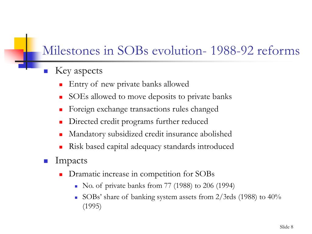 Milestones in SOBs evolution- 1988-92 reforms