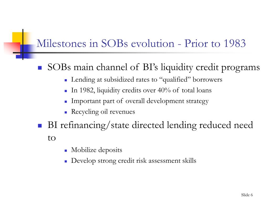 Milestones in SOBs evolution - Prior to 1983