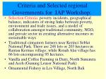 criteria and selected regional governments for iap workshop