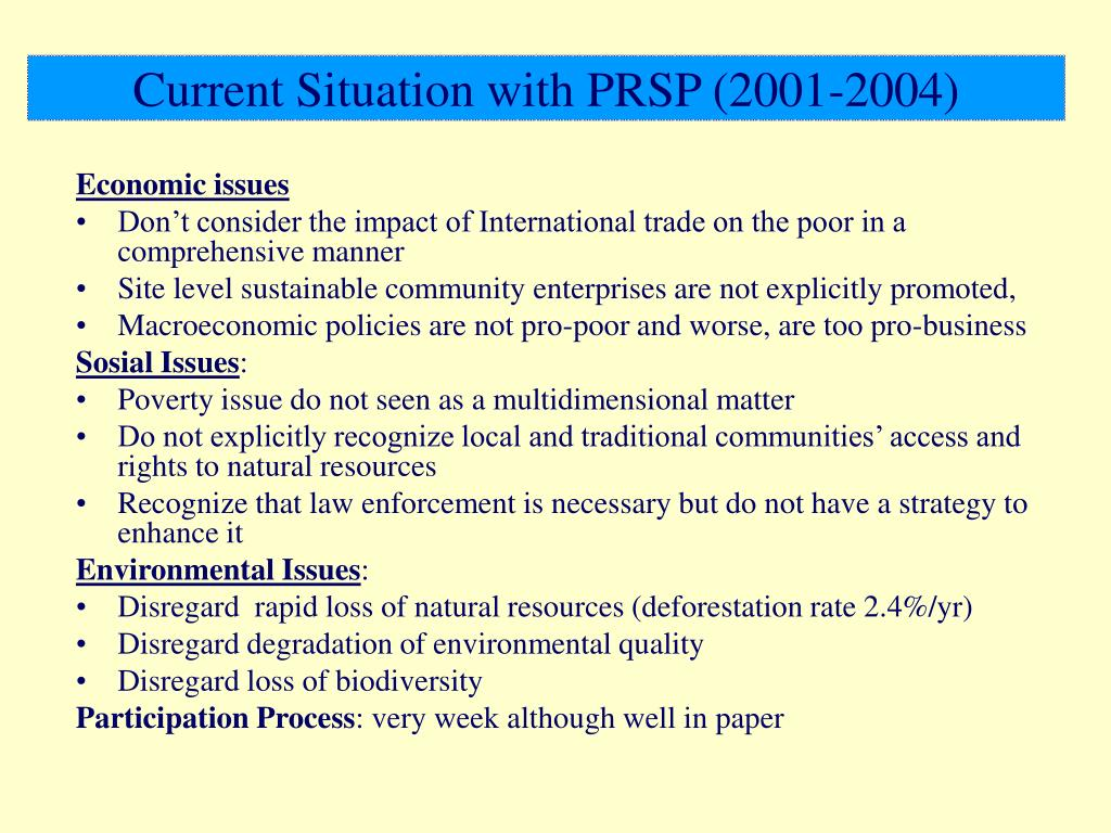 Current Situation with PRSP (2001-2004)
