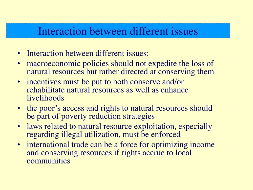 Interaction between different issues