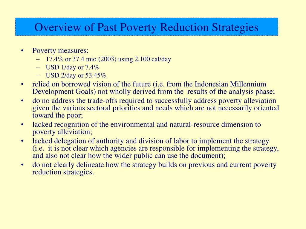 Overview of Past Poverty Reduction Strategies
