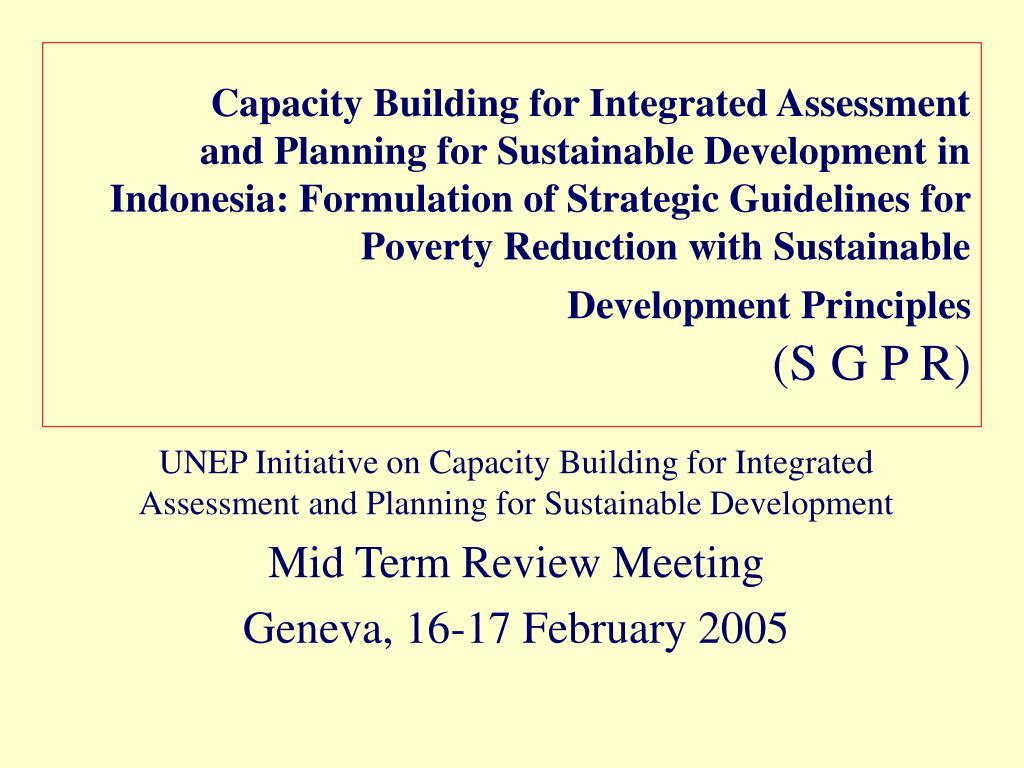 Capacity Building for Integrated Assessment
