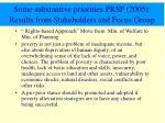some substantive priorities prsp 2005 results from stakeholders and focus group