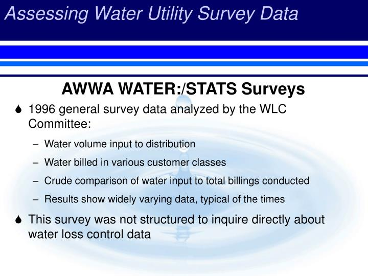 AWWA WATER:/STATS Surveys