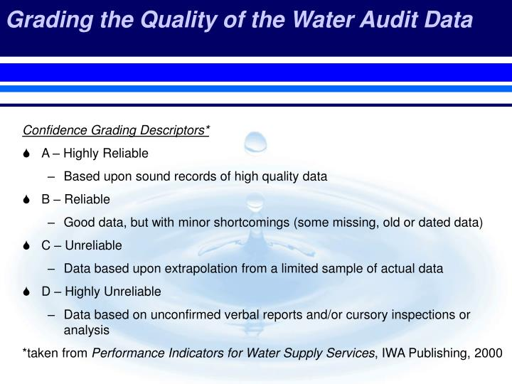 Grading the Quality of the Water Audit Data