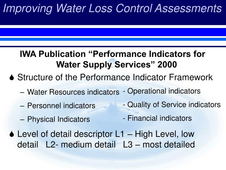 "IWA Publication ""Performance Indicators for Water Supply Services"" 2000"