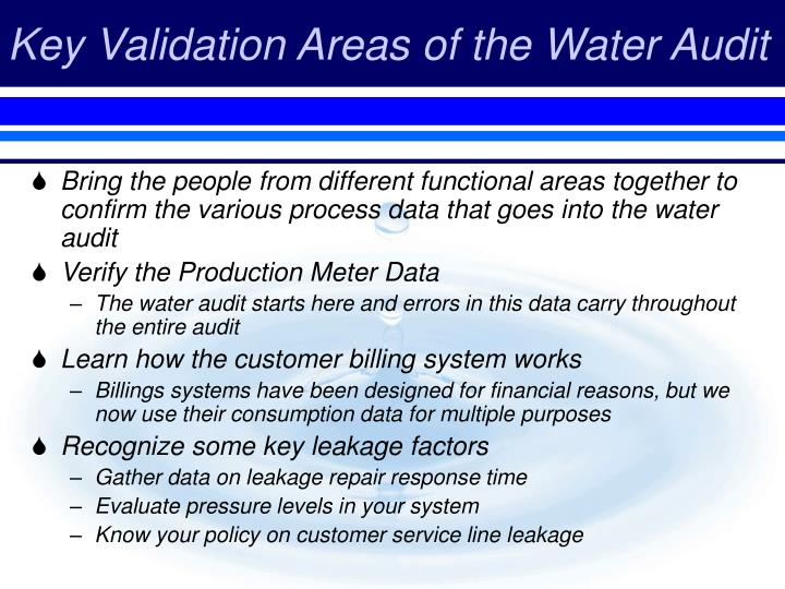 Key Validation Areas of the Water Audit