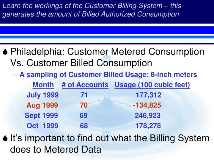 Learn the workings of the Customer Billing System – this generates the amount of Billed Authorized Consumption