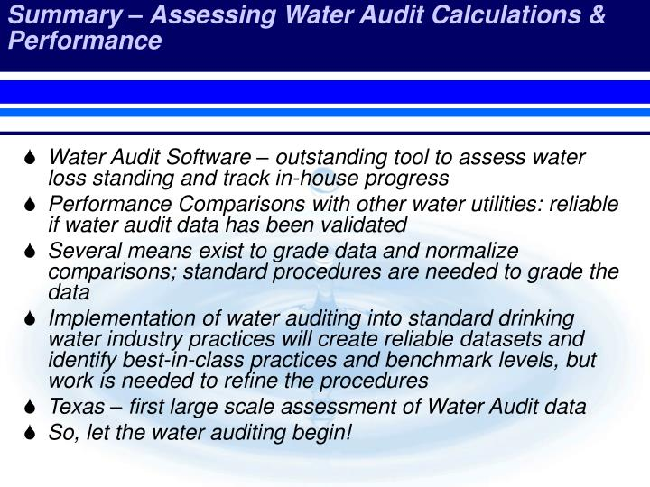 Summary – Assessing Water Audit Calculations & Performance