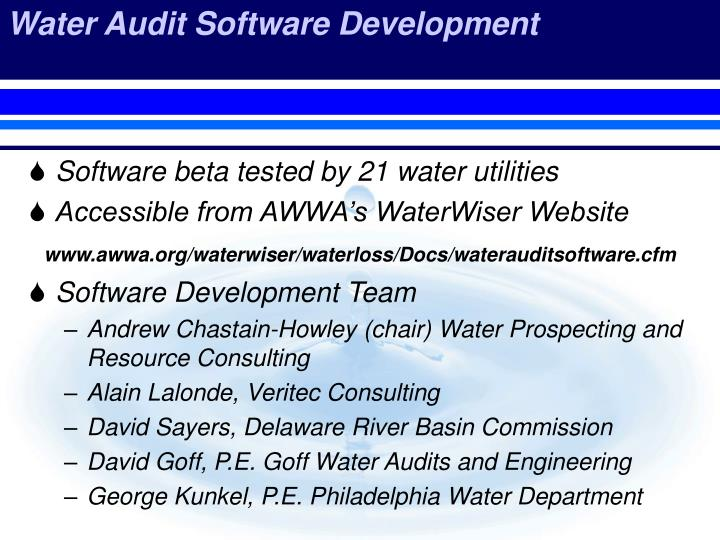 Water Audit Software Development