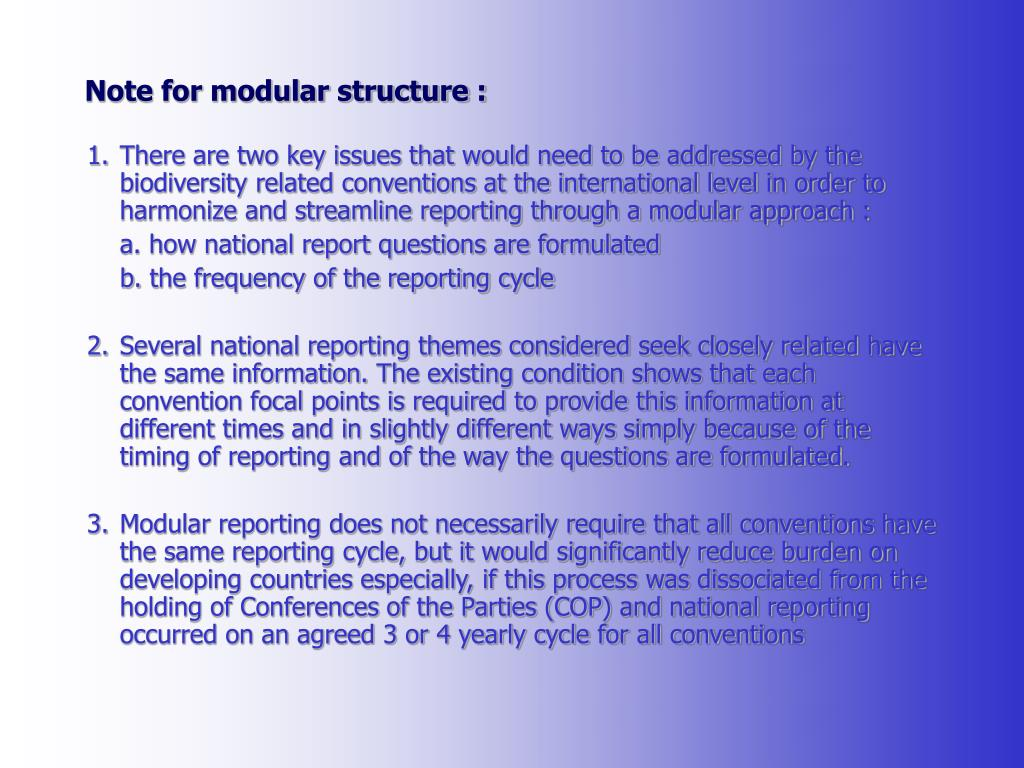 Note for modular structure :