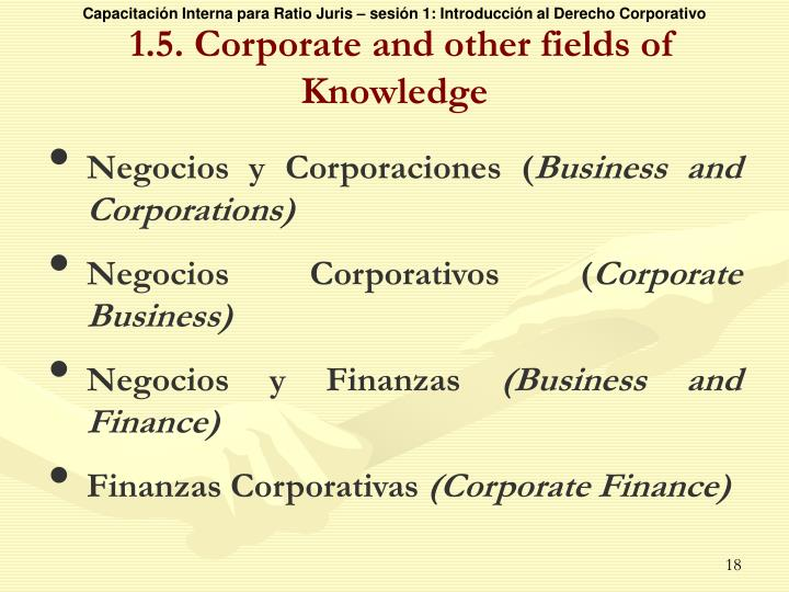 1.5. Corporate and other fields of Knowledge