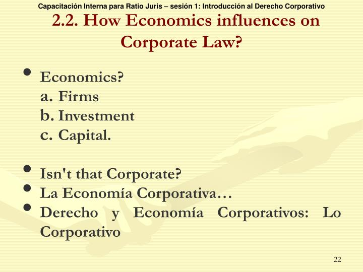 2.2. How Economics influences on  Corporate Law?