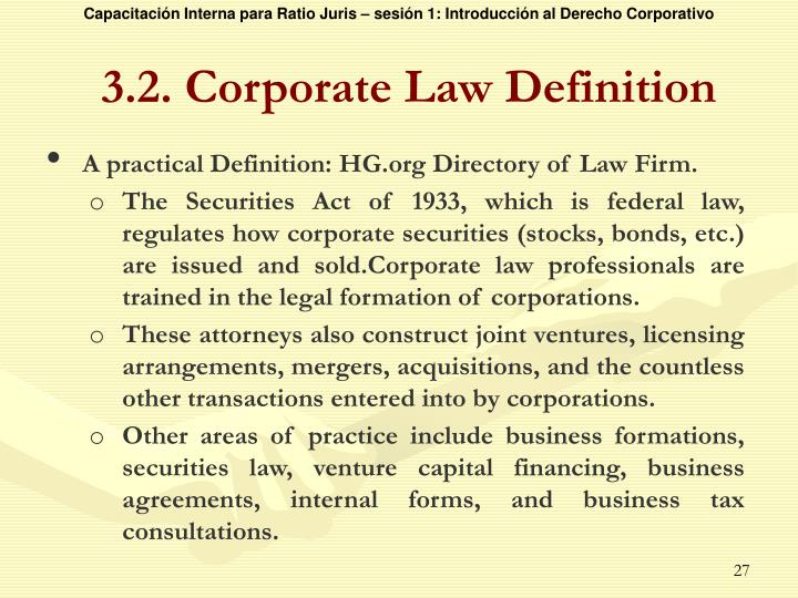 3.2. Corporate Law Definition