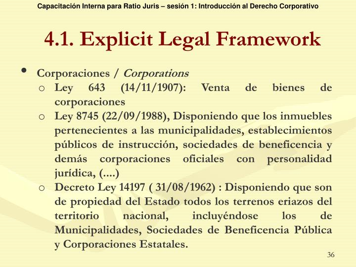 4.1. Explicit Legal Framework