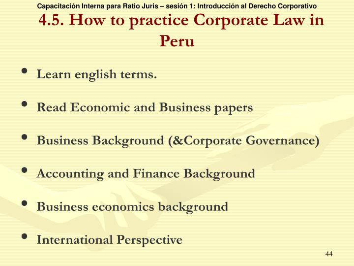 4.5. How to practice Corporate Law in Peru