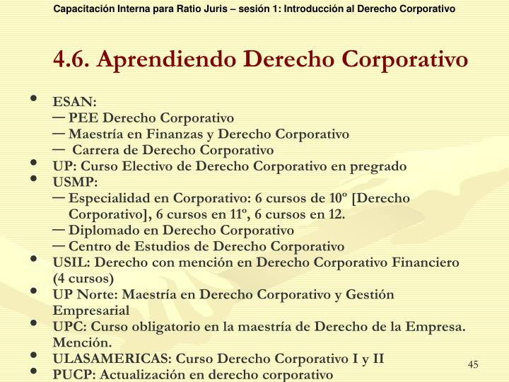 4.6. Aprendiendo Derecho Corporativo