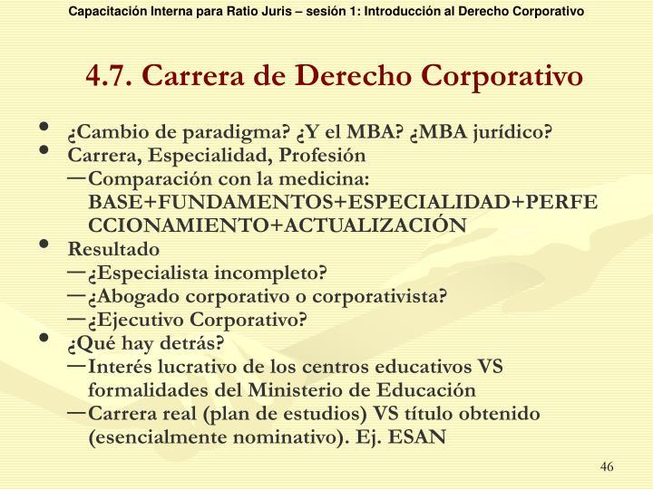 4.7. Carrera de Derecho Corporativo