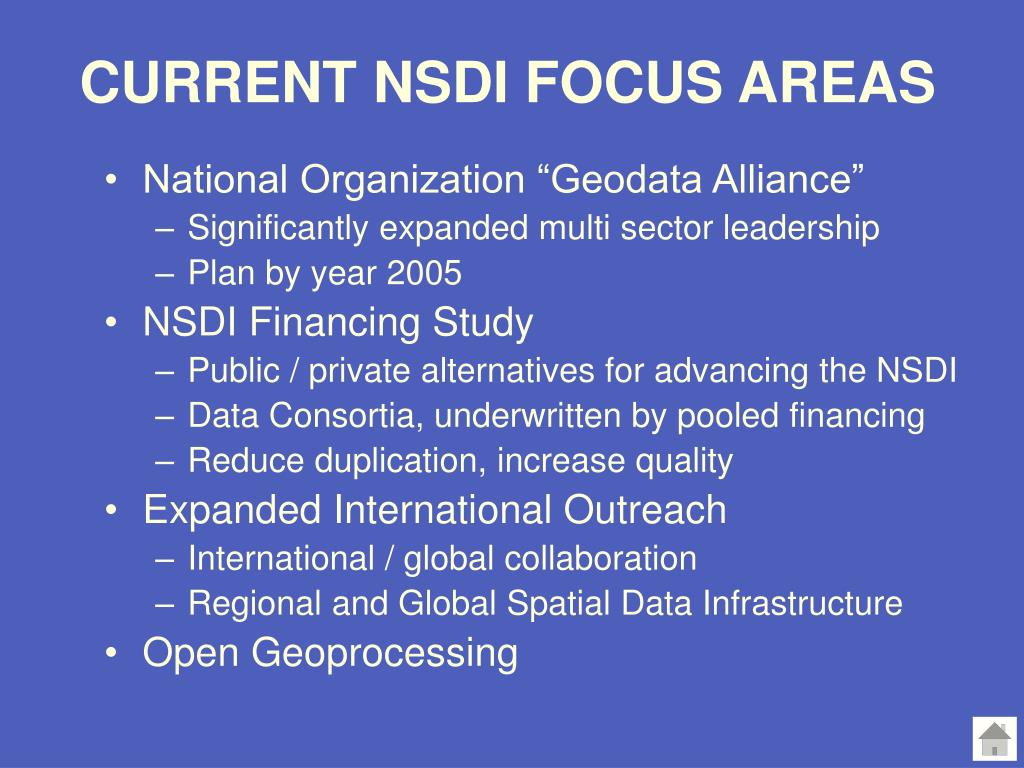 CURRENT NSDI FOCUS AREAS