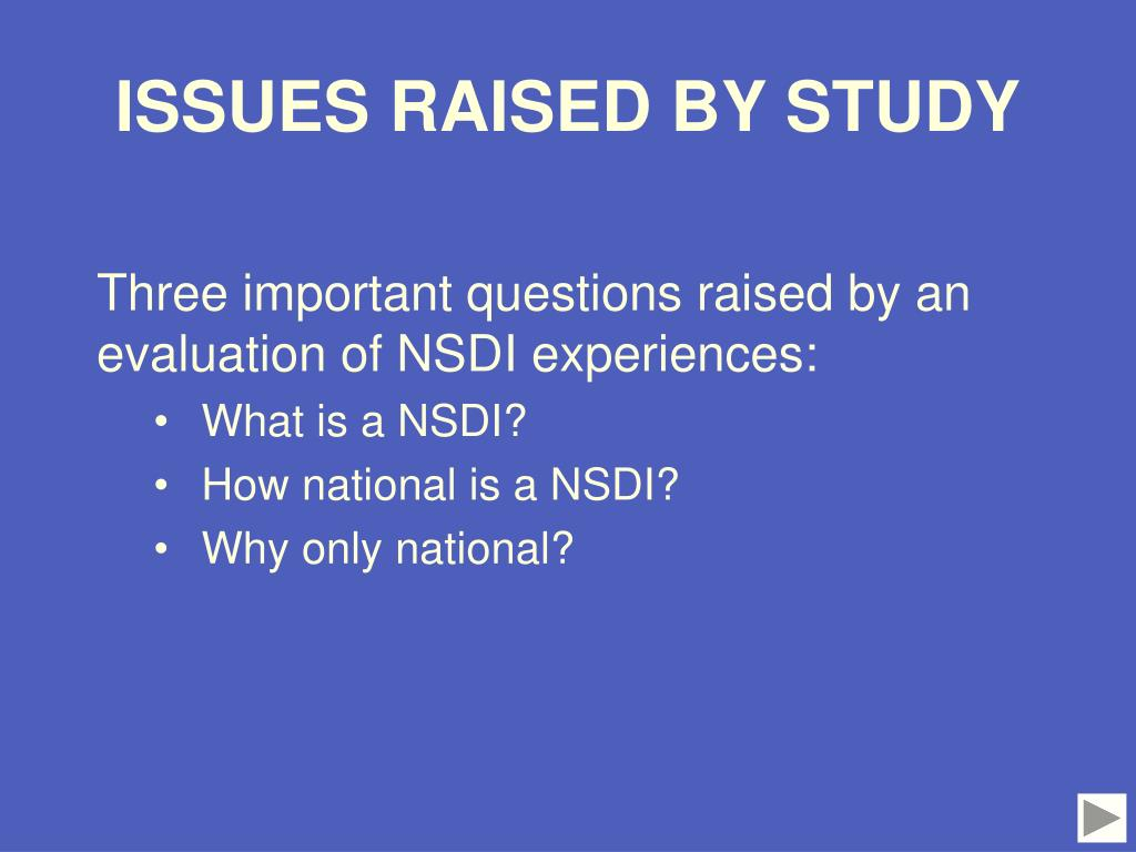ISSUES RAISED BY STUDY