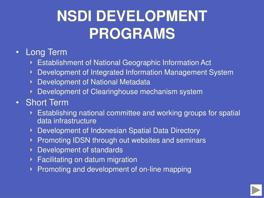 NSDI DEVELOPMENT PROGRAMS