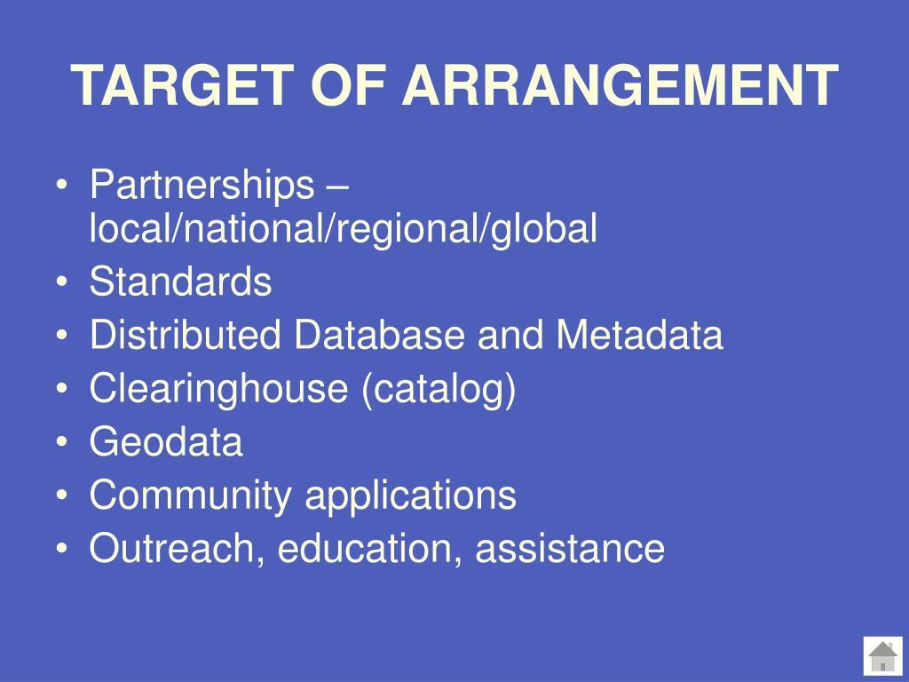 TARGET OF ARRANGEMENT