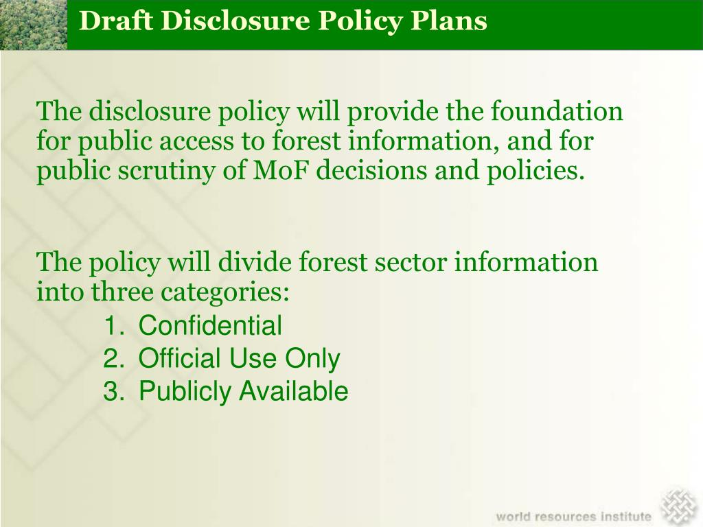 Draft Disclosure Policy Plans