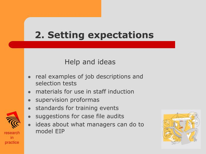 2. Setting expectations