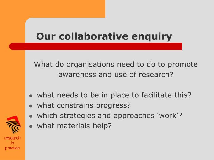 Our collaborative enquiry