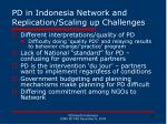 pd in indonesia network and replication scaling up challenges