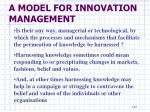 a model for innovation management