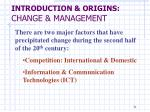 introduction origins change management