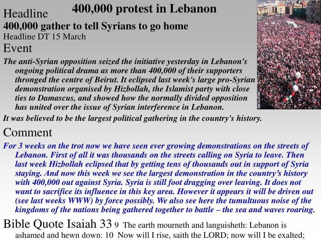 400,000 protest in Lebanon