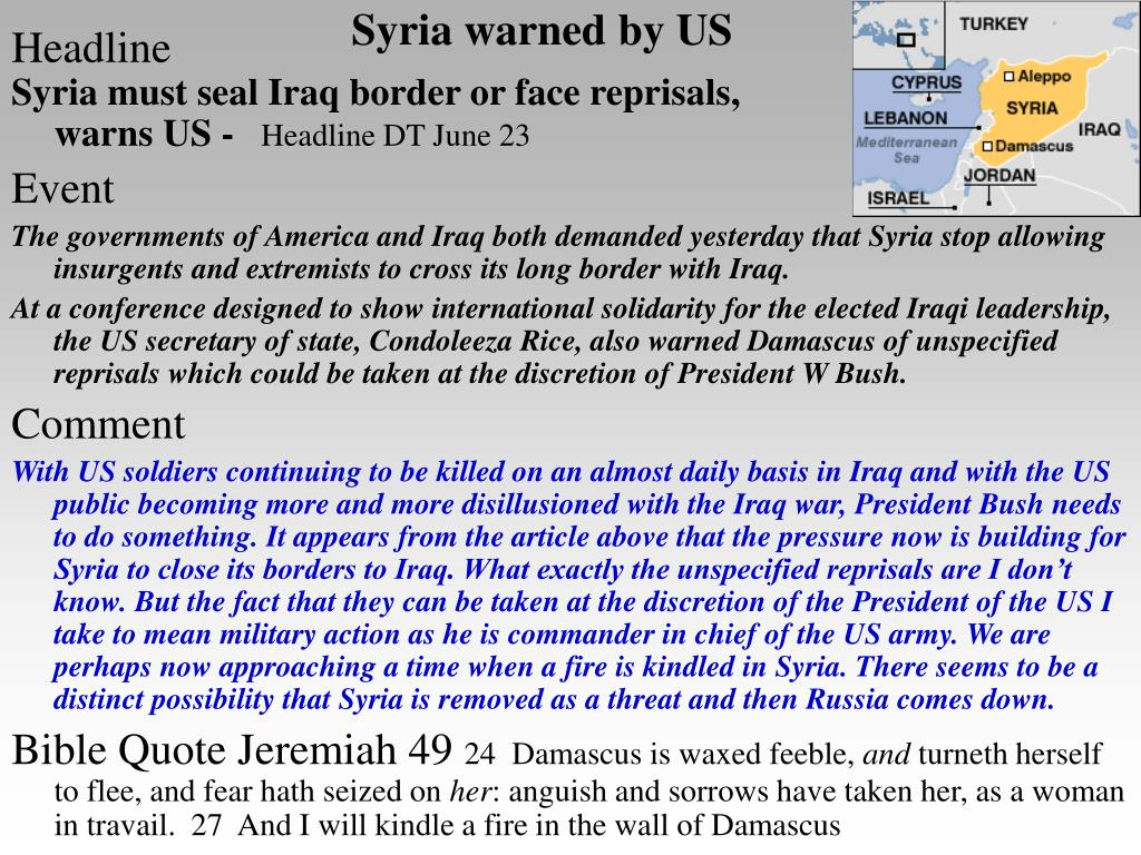 Syria warned by US